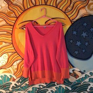 J Jill V neck hi lo long sleeved sweater size Lg